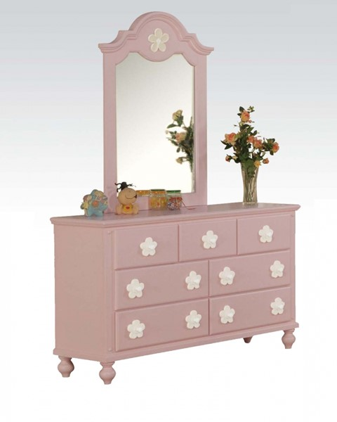 Floresville Youth Pink Wood Glass Dresser And Mirror ACM-00740-ACM-00741