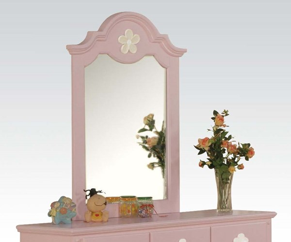 Floresville Youth Pink Wood Glass Mirror ACM-00740