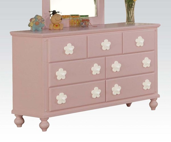 Floresville Youth Pink Wood Drawer Dresser ACM-00741