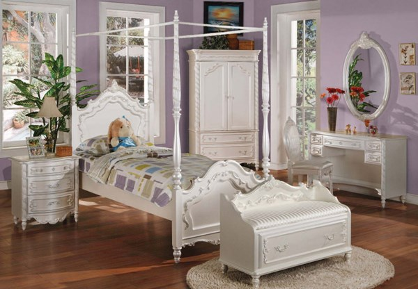 Pearl Elegent White Twin Post Canopy Bed ACM-01000T-CNPY