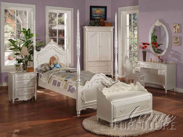 Pearl Youth White Ivory Wood 2pc Kids Bedroom Set ACM-00995SET