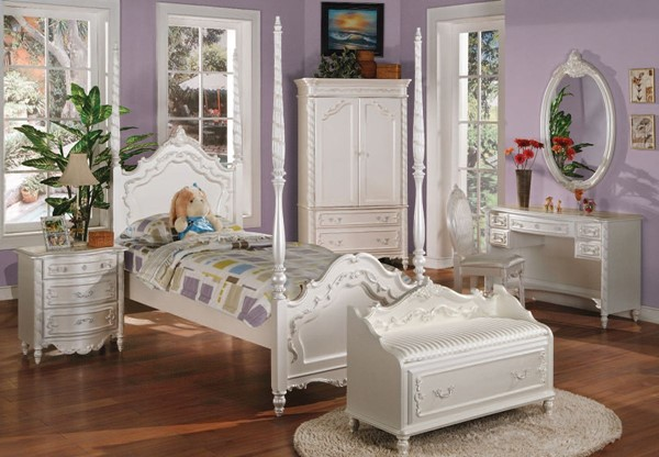 Pearl White Wood Glass 2pc Kids Bedroom Set W/Twin Post Bed ACM-00995-S-VAR