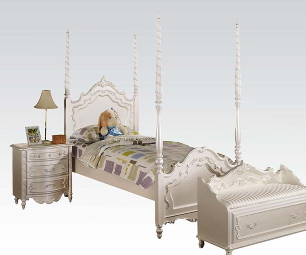 Pearl Elegent White Gold Wood Full Post Bed ACM-00995F-B