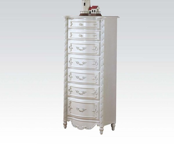 Pearl Elegent White Wood Lingerie Chest W/7 Drawers ACM-01004