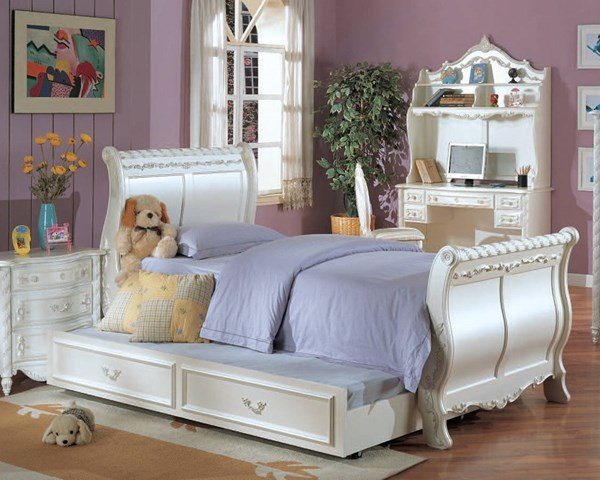 Pearl Youth White Wood Beds W/decorative Carvings ACM-00995-BEDS