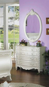 Pearl Elegant White Wood Glass Mirror And Dresser ACM-01014-01015