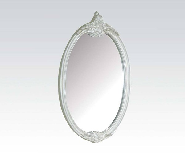 Pearl Elegent White Wood Oval Shaped Mirror ACM-01014