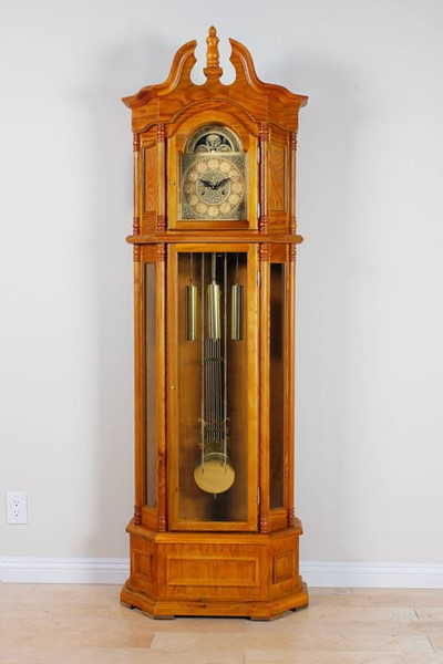 Filmour Oak Wood Double Chime Grandfather Clock ACM-01410