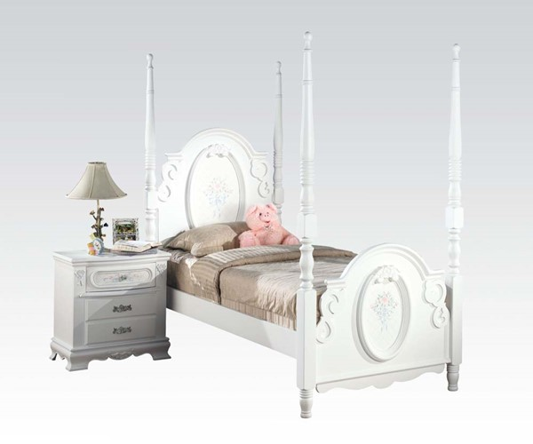 Acme Furniture Flora White Flora White Poster Beds ACM-01677-BEDS-VAR