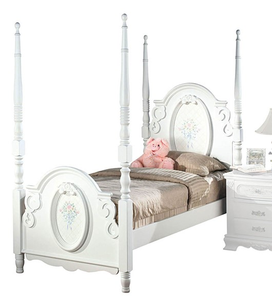 Acme Furniture Flora White Twin Poster Bed ACM-01660T