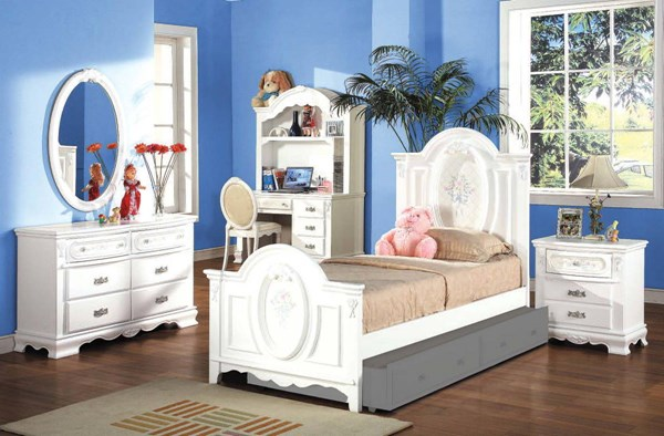 Flora White Wood 2pc Bedroom Set W/Twin Panel Bed ACM-01657S3