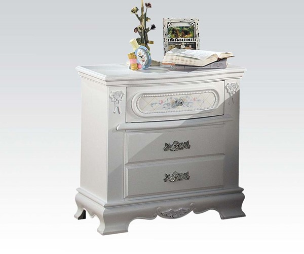Flora Contemporary White Wood Nightstand W/Round Knobs ACM-01663