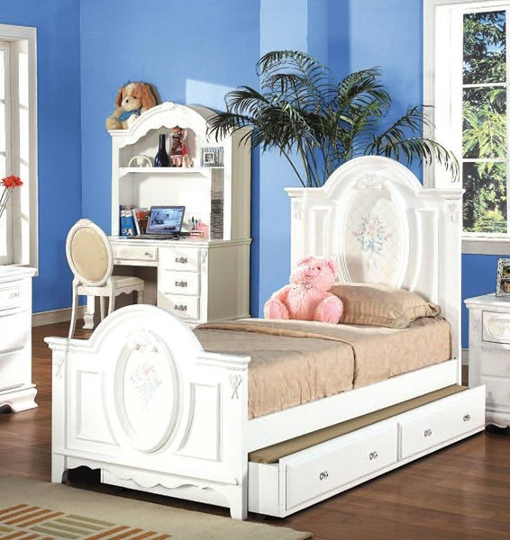 Acme Furniture Flora White Panel Beds with Trundle ACM-01677F-TRND-VAR