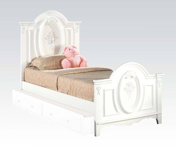Flora White Wood Full Panel Bed W/o Storage ACM-01677F