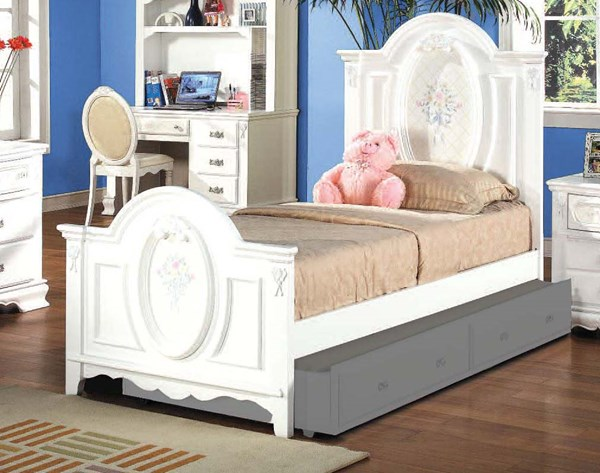 Flora White Wood Full Panel Bed W/Oval Rope Molding ACM-01677F-T-BEDS