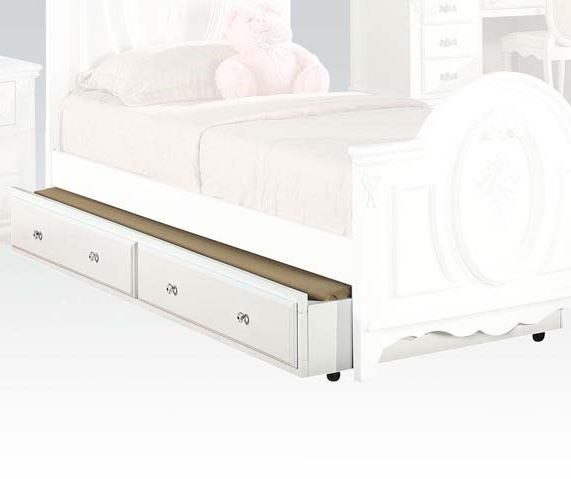 Flora White Wood Twin And Full Bed Trundle ACM-01683