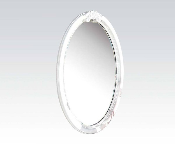 Flora Standard White Wood Glass Oval Bedroom Mirror ACM-01684