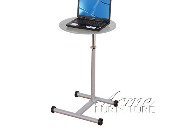 View Grey  Clear Glass Metal Laptop Stand ACM-01908