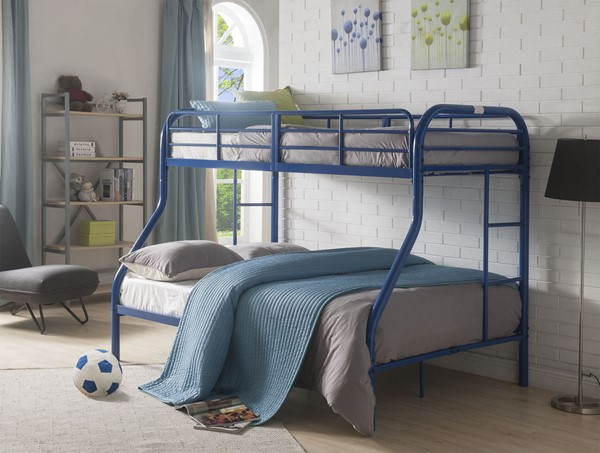 Acme Furniture Tritan Blue Metal Twin Over Full Bunk Bed with Built In Ladder ACM-02043BU