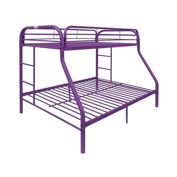 Acme Furniture Tritan Purple Metal Twin Over Full Bunk Bed with Built In Ladder ACM-02043PU