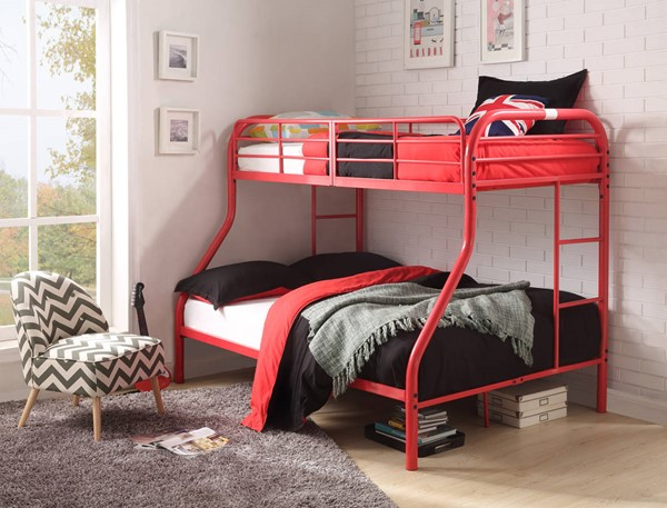Acme Furniture Tritan Red Metal Twin Over Full Bunk Bed with Built In Ladder ACM-02043RD