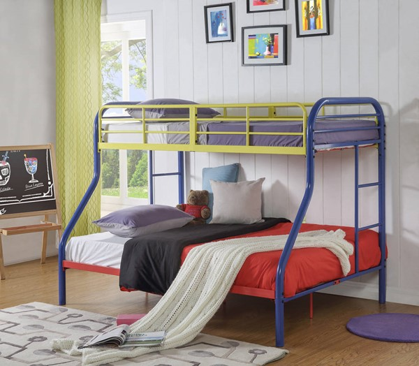 Acme Furniture Tritan Rainbow Metal Twin Over Full Bunk Bed with Built In Ladder ACM-02043RNB