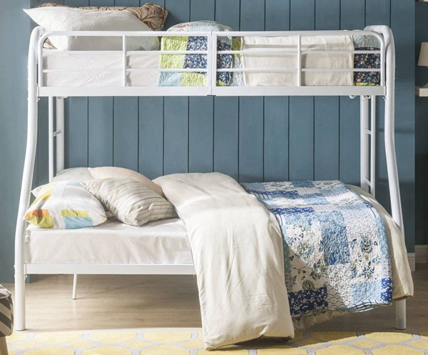 Acme Furniture Tritan White Metal Twin Over Full Bunk Bed with Built In Ladder ACM-02043WH