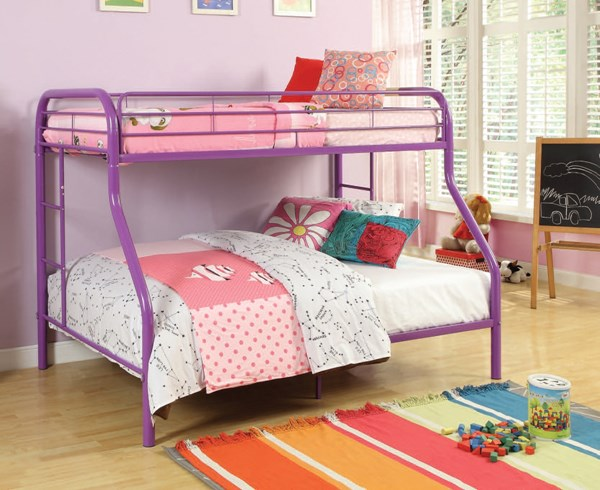 Tritan Contemporary Purple Metal Built In Ladder Twin/Full Bunk Bed ACM-02053A-PU