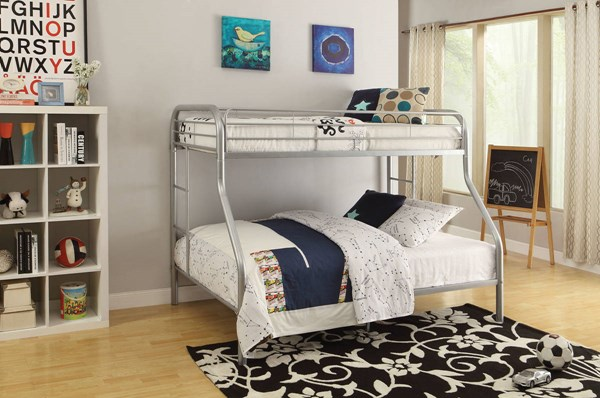 Tritan Contemporary Silver Metal Twin/Queen Bunk Bed ACM-02052SI