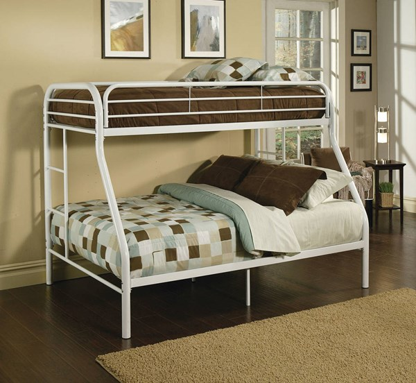 Tritan White Metal Built In Ladder Twin/Full Bunk Bed ACM-02053WH
