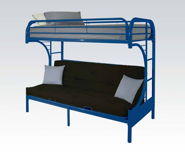 Eclipse Blue Metal Twin/Full Futon Bunk Bed ACM-02091NV