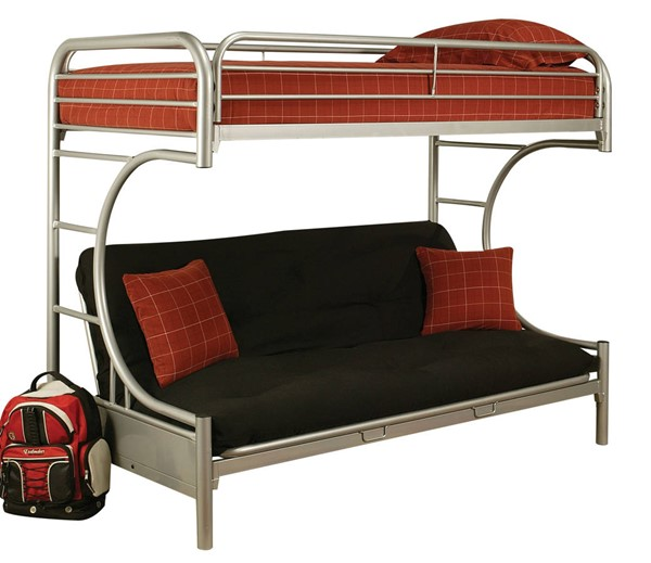 Acme Furniture Eclipse Silver Twin XL Over Queen Futon Bunk Bed ACM-02093SI