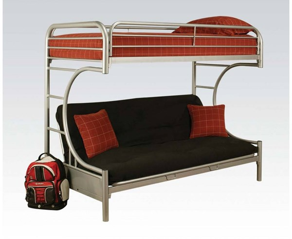 Eclipse Silver Metal Twin/Queen/Futon Bunk Bed ACM-02093SI