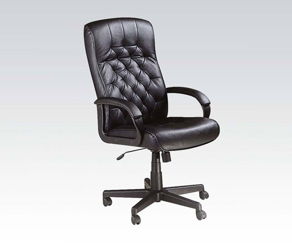 Charles Black Leather Office Chair W/Pneumatic Lift ACM-02170