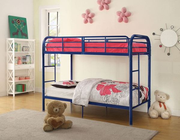 Acme Furniture Thomas Blue Twin Over Twin Bunk Bed With Built In Ladder ACM-02178BU