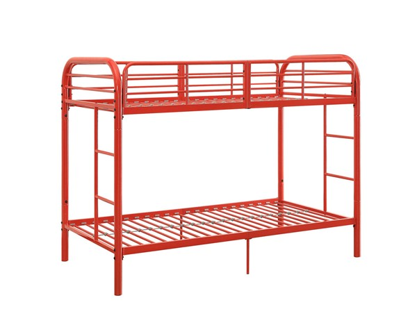 Acme Furniture Thomas Red Twin Over Twin Bunk Bed With Built In Ladder ACM-02178RD