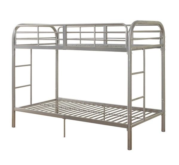 Acme Furniture Thomas Silver Twin Over Twin Bunk Bed With Built In Ladder ACM-02178SI