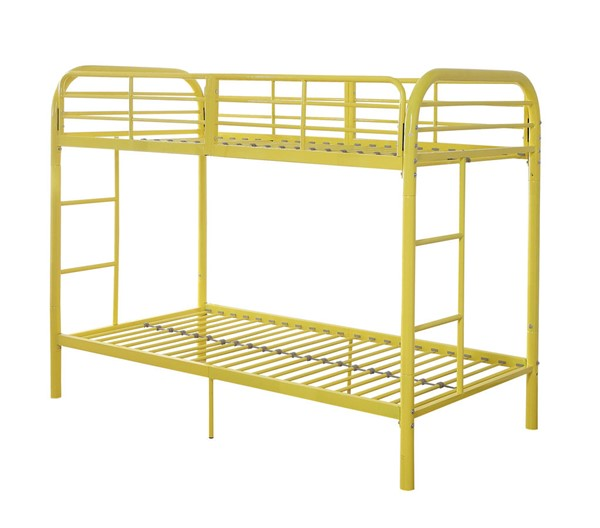 Acme Furniture Thomas Yellow Twin Over Twin Bunk Bed With Built In Ladder ACM-02178YL