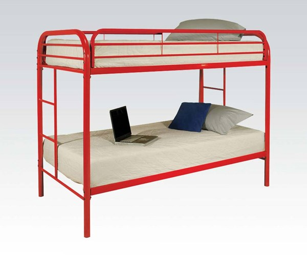 Thomas Red Metal Built In Ladder Twin/Twin Bunk Bed ACM-02188RD