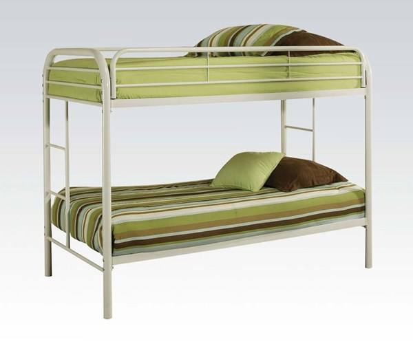Thomas White Metal Twin/Twin Bunk Bed W/Built In Ladder ACM-02188WH