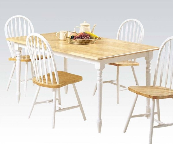 Farmhouse Casual Natural White Wood Dining Table ACM-02247NW