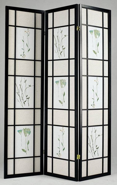 Iola Black Metal Glass 3 Panel Wooden Screen ACM-02254