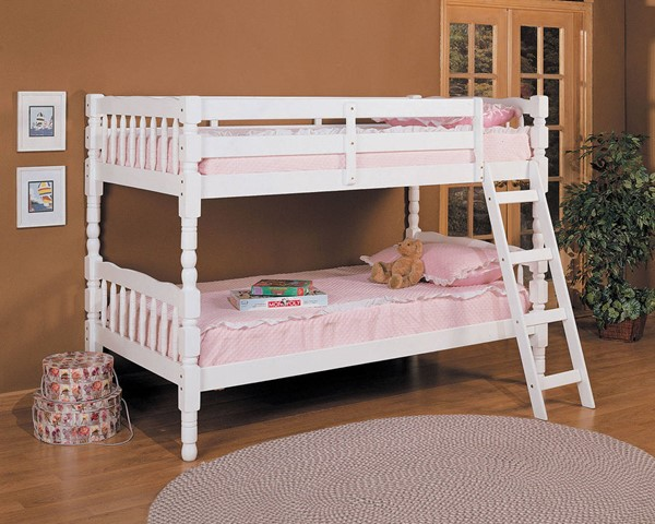 Homestead White Wood Ladder Twin/Twin Bunk Bed ACM-02298