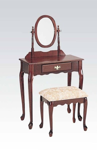 Queen anne cherry wood 3pc pack vanity set the classy home - Queen anne bedroom furniture cherry ...