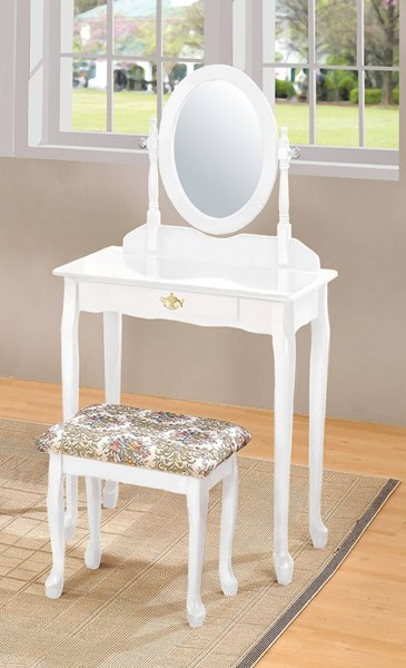Queen Anne White Wood Glass Vanity Set ACM-02337WH