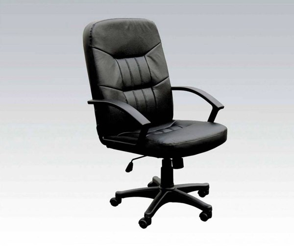 Jason Black Bonded Leather Nylon Office Chair W/Pneumatic Lift ACM-02340