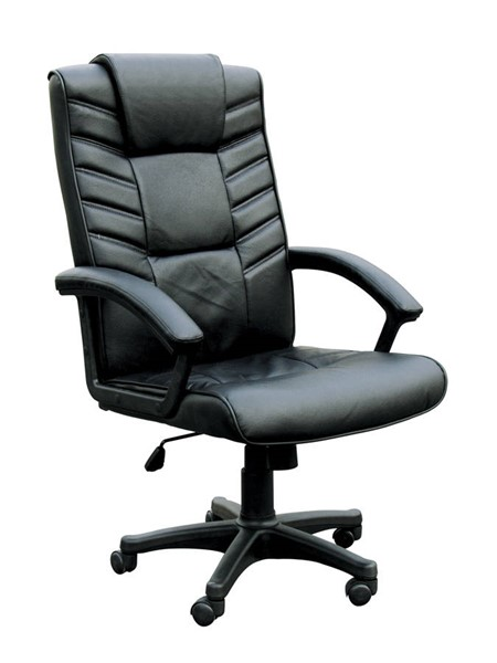 Chesterfield Black Bonded Leather Nylon Office Chair W/Pneumatic Lift ACM-02341