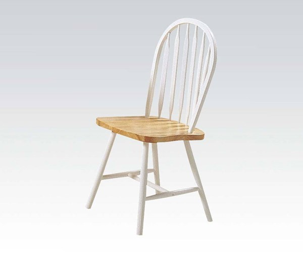 4 Farmhouse Natural White Wood Side Chairs ACM-02482NW