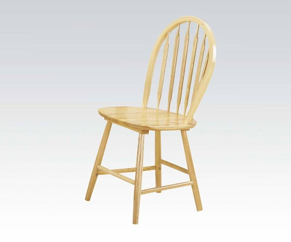 4 Farmhouse Natural Wood Solid Seat Side Chairs ACM-02482N