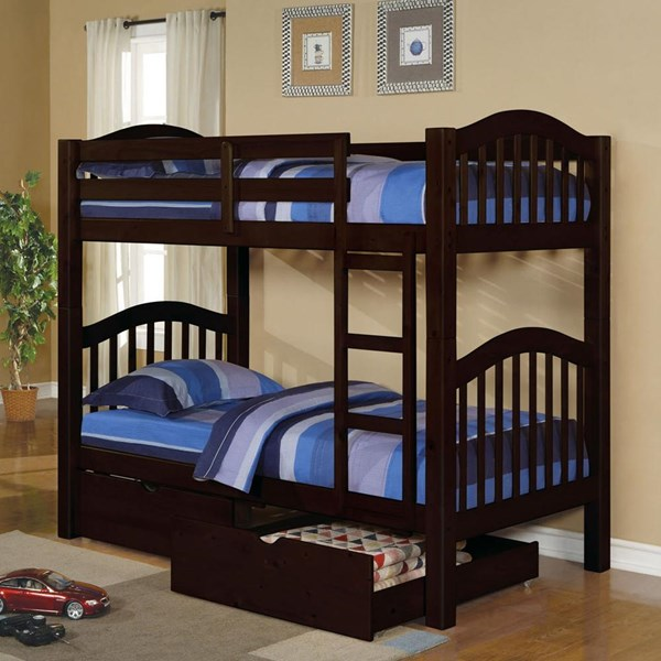Heartland Espresso Wood Twin/Twin Drawer Storage Bunk Bed ACM-02554-DRWR-BB